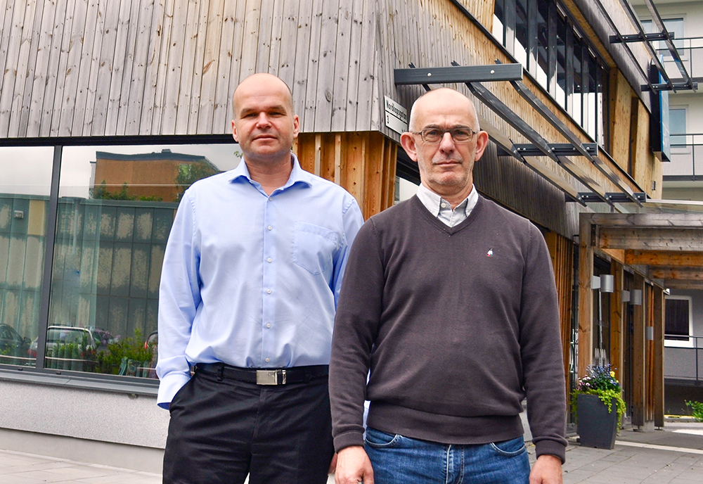 Kåre Fredriksson, projektchef och Gunnar Ohlsén, chef för byggprojektavdelningen på Micasa Fastigheter.