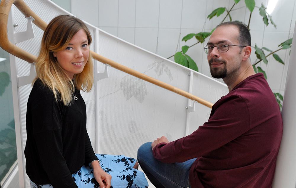 Angelica Stenudd och Khaled Arnaout hos MKB Fastighets AB.