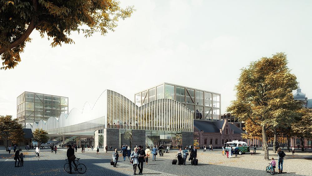 Den planerade centralstationen i Lund sett från öster, med Clemenstorget i förgrunden. Illustration: Elding Oscarson/C.F. Møller Architects