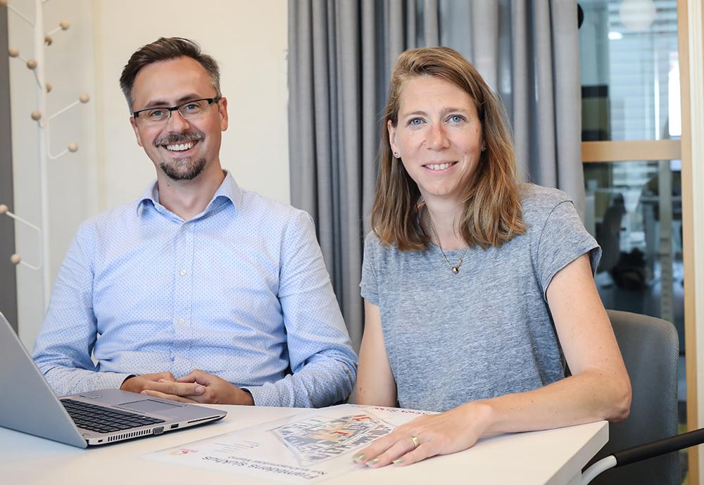 Ervin Turanovic och Kristina Olofsson trivs hos Regionfastigheter i Malmö. Foto: Caroline L Jacobsen