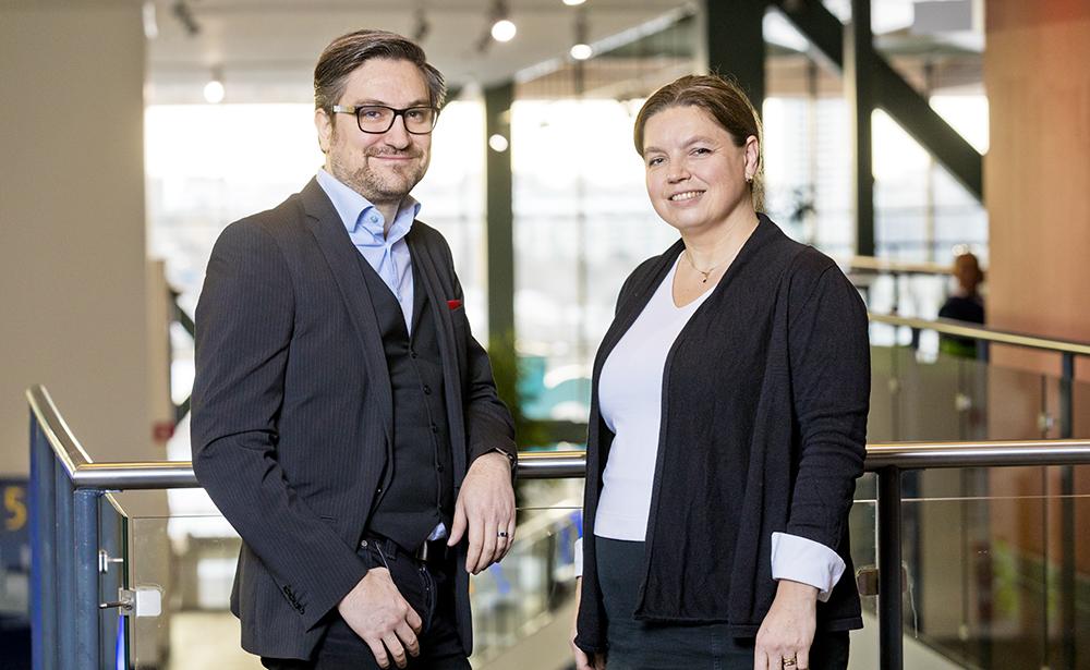 Petter Fahlström, chef för User support office och Jenny Fagerstedt, chef för IT-delivery. Foto: Gonzalo Irigoyen