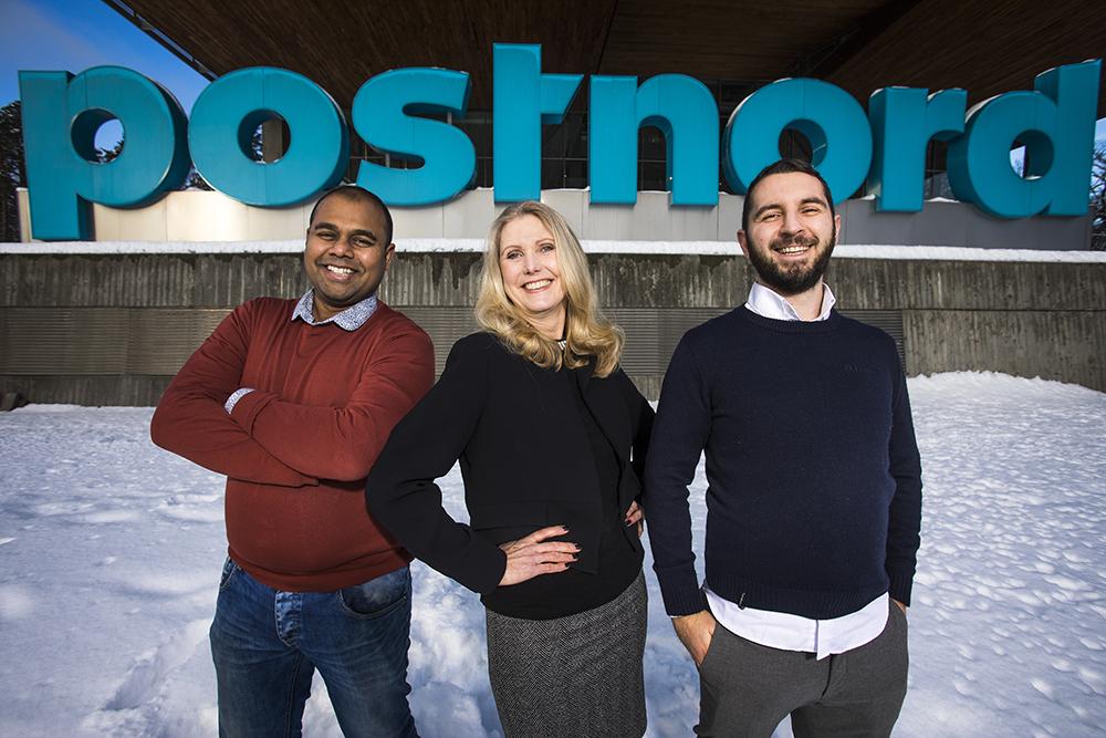 Amarnath Das, Product Owner Data Analytics, Åsa Edde, Product Owner Automation och Emilio Marinone, Data Scientist på PostNord. Foto: Johan Marklund